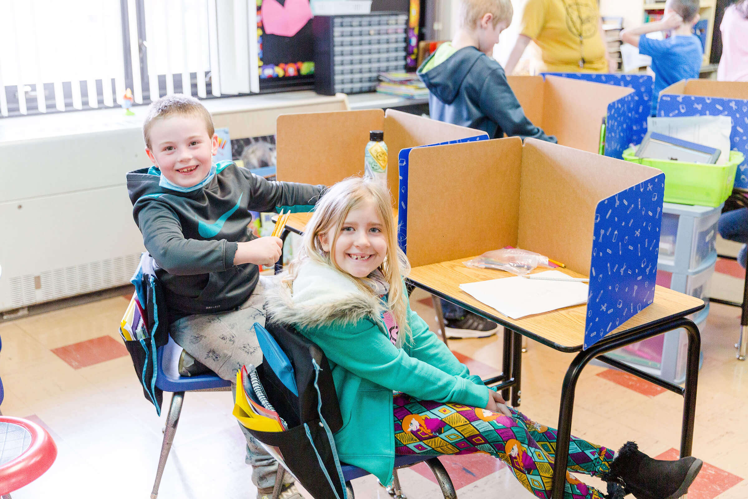 Two students in a classroom