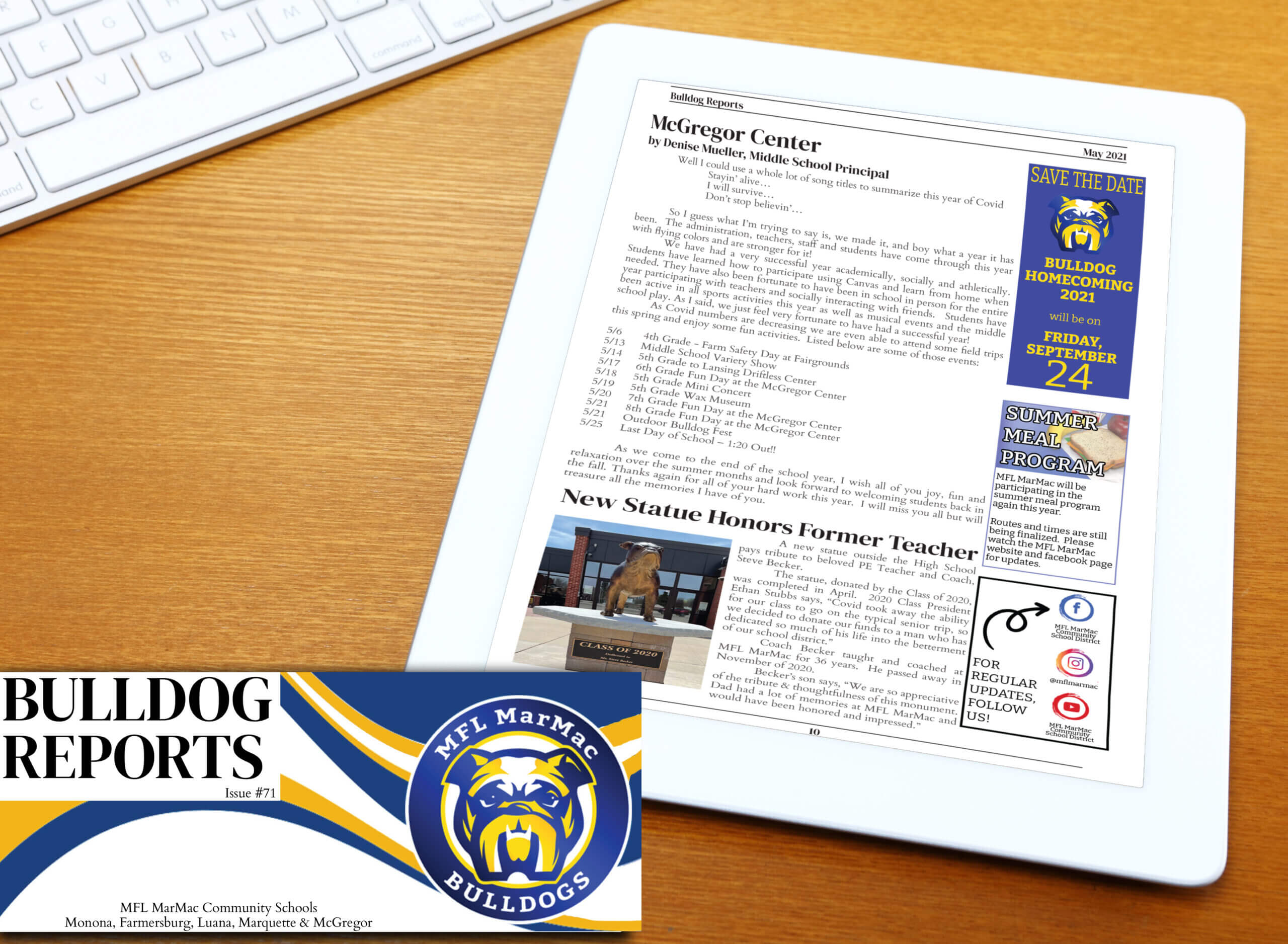A page from the May 2021 newsletter sitting on a desk