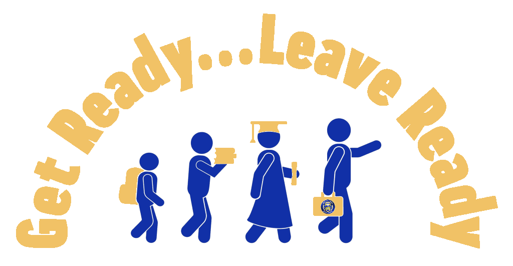 Get Ready...Leave Ready with stick figures from elementary to workforce