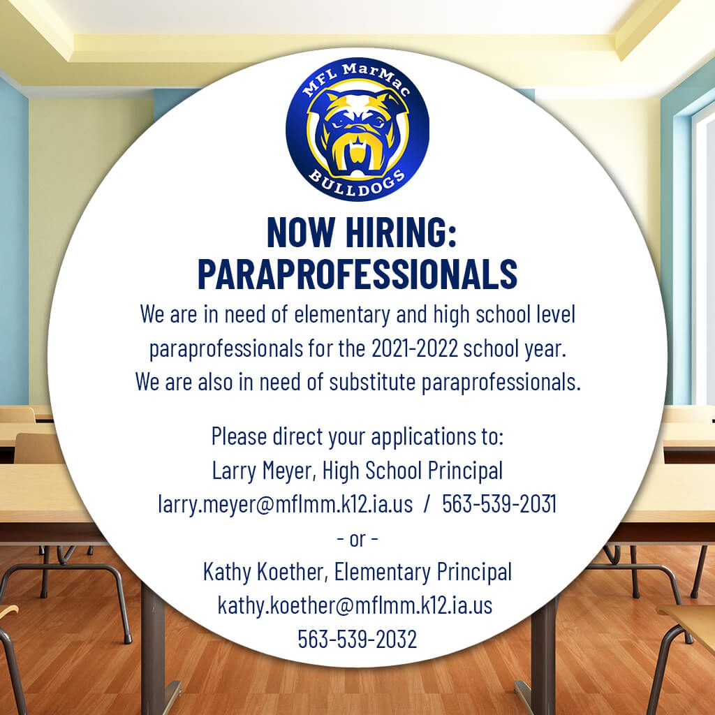 We are in need of elementary and high school level paraprofessionals for the 2021-2022 school year. We are also in need of substitute paraprofessionals.